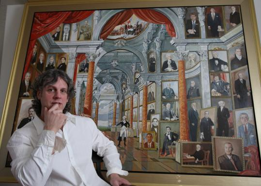 Artist Tom Darsney in front of his painting ''Hall of Presidents'' at his Salem home. Darsney wants to show the painting, on a canvas nearly 7 feet high and including portraits of all 43 US presidents, at the White House.