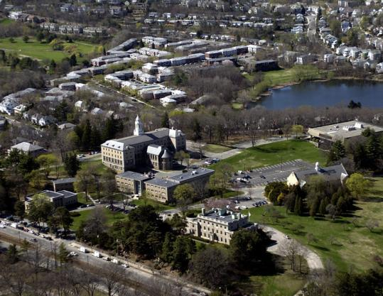An aerial view of the archdiocesan complex: the chancery, the cardinal's former residence, and St. John's Seminary.