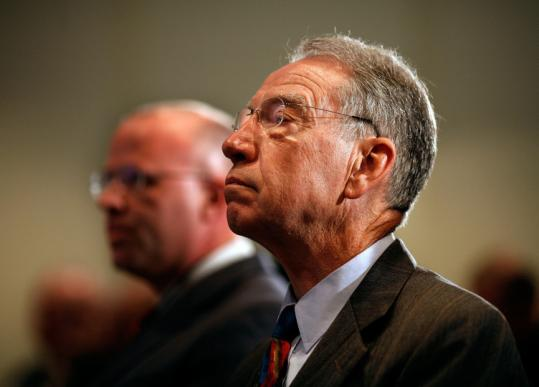 ''The higher some consultant says [an executive] has got to be paid, the more he's in demand,'' said Senator Charles Grassley.
