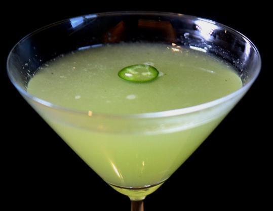 The Cilantro Sting mixes cilantro, Serrano chilies, and tequila.