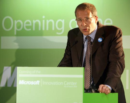 Microsoft vice president for Western Europe Pierre Liautaud speaks at the company's Belgium innovation center.