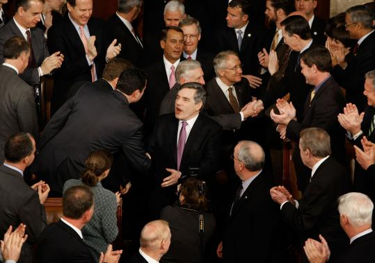 British Prime Minister Gordon Brown greeted legislators in Washington, D.C.