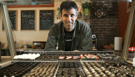 Steve Almond, the author of ''Candyfreak: A Journey through the Chocolate Underbelly of America,'' at the chocolate corner of the Danish Pastry House.