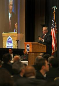Mayor Thomas M. Menino at the annual meeting of the Boston Municipal Research Bureau yesterday at the Seaport Hotel.
