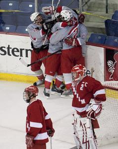 CM celebrates Dan Cornell's first goal - and the Knights' first lead over Hingham.