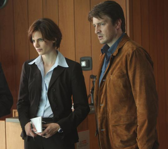 Stana Katic (left) is a police detective and Nathan Fillion is a best-selling mystery novelist who is working with the New York cops on homicide cases.