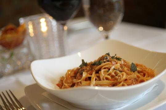 The classic dish tagliatelle alla Bolognese is one of the high points at Olivadi.
