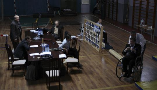 In ''12,'' Russian jurors are sequestered in a high-school gymnasium. Nikita Mikhalkov's film was a 2008 foreign-language Oscar nominee.