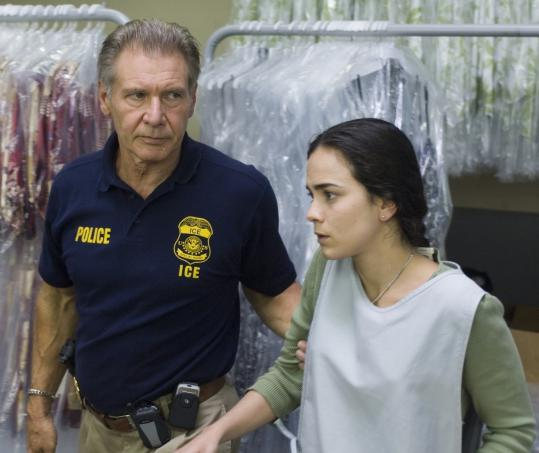 Harrison Ford (with Alice Braga) plays an Immigration and Customs Enforcement officer in ''Crossing Over.''