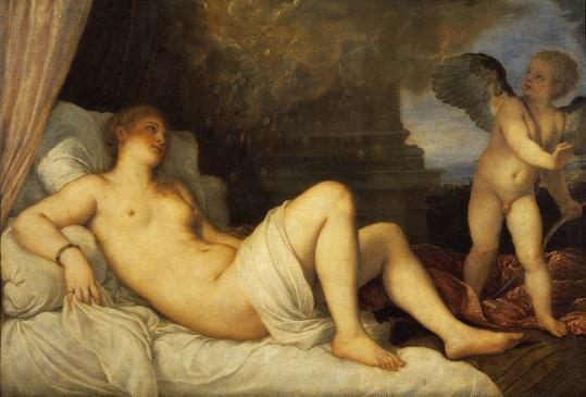 Titian's ''Danaë,'' painted for a nephew of Pope Paul III, shows her being ravished by Jupiter in the form of a shower of gold.