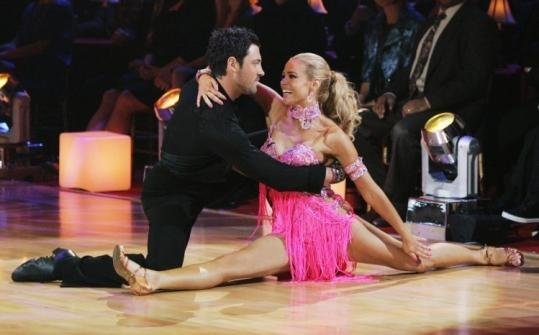 KELSEY MCNEAL/ASSOCIATED PRESSDenise Richards and her partner Maksim Chmerkovskiy perform during Monday's ''Dancing with the Stars.''