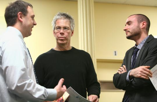 'These are adolescent boys, after all. . . . Really, this is just another opportunity for them to express themselves in a different way.' -- Robert Walsh (center), shown with Gary Abrams (left) and Evan Gentler.