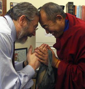 Dr. Michael Grodin (left) treated Tibetan monk Yeshi Togden for post-traumatic stress from his im