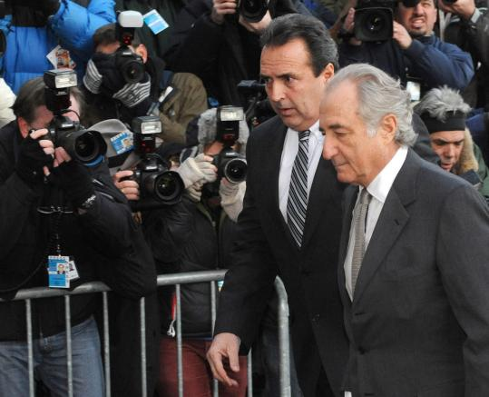 Bernard L. Madoff, shown arriving at federal court in Manhattan yest