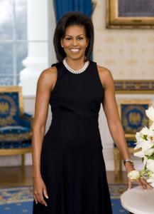 In her official portrait, the first lady wears a sleeveless dress that reveals her much-discussed toned arms.