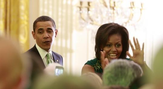 President Obama and First Lady Michelle Obama greeted St. Patrick's Day visitors to the White House yesterday.