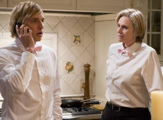 Above: Ryan Hansen and Jane Lynch play misfit staffers for a Los Angeles catering service in ''Party Down.'' Below: Janeane Garofalo (left) plays herself as a patient of a narcissistic therapist (Alexandra Wentworth) in ''Head Case.''