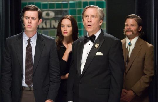 John Malkovich (second from right) plays the title role in ''The Great Buck Howard.'' The film also stars (from left) Colin Hanks, Emily Blunt, and Steve Zahn.