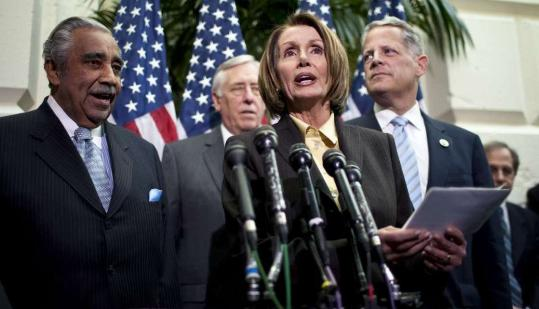 House Speaker Nancy Pelosi, backed by Representatives Charles Rangel, Steny Hoyer, and Steve Israel, detailed the plan to deal with executive compensation at firms receiving bailouts.