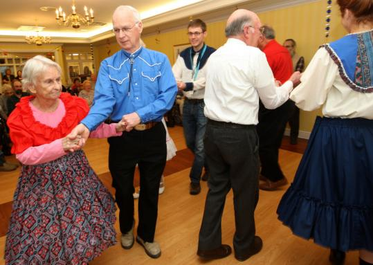 Marilyn Coyne, 82, hoofed yesterday with Tom Barry at Meadow View in North Reading.
