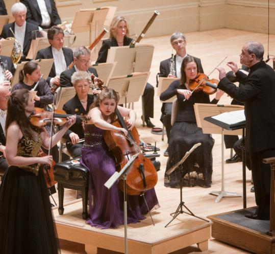 Violinist Janine Jansen and cellist Alisa Weilerstein perform the Brahms Double Concerto with guest conductor Hans Graf and the BSO last night.