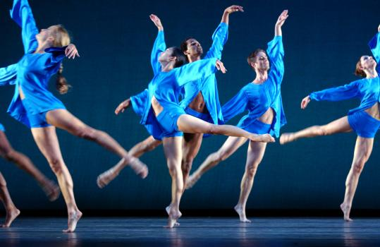 The Mark Morris Dance Group performs ''V,'' one of three Morris classics presented at the Cutler Majestic Theatre Thursday night.