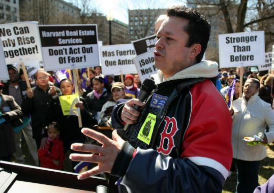 Bedardo Sola, who recently lost his $17-an-hour janitorial job, spoke at a Boston Common rally in support of laid-off workers.
