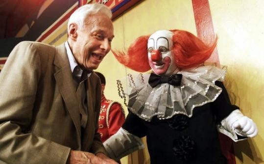 Alan Livingston with Bozo the Clown, played by Joey D'Auria.