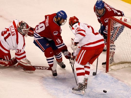 Mike Potacco (19) and the River Hawks had a number of close calls but couldn't find the net.