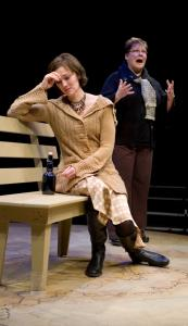 Karen Carpenter (seated) with Wendy Overly as atheist Grace Friedman in ''Grace'' at the Gamm Theatre in Pawtucket, R.I.
