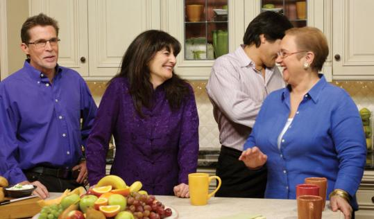 Celebrity chefs (above, from left) Rick Bayless, Ruth Reichl, Ming Tsai, and Lidia Bastianich on the ''Moveable Feast'' set. The writer, a food stylist, is below right, with chef Jose Andres.