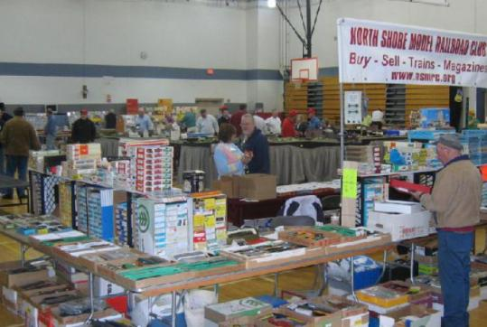 At last year's Railfair at Shirley Middle School, groups such as North Shore Model Railroad Association (above) were on hand. At right, models of a Conrail locomotive (top) and of a freigh