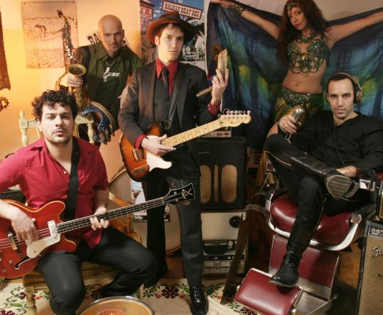 Ori Kaplan (second from left) and his New York band mix the rhythms of European, Jewish, Muslim, and Roma cultures.