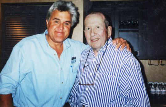 Jay Leno embraces Lennie Sogoloff, who helped launch his career in 1972, some 30 years after their first encounter.