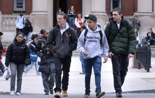 Boston Latin School student Myles Friedman (left) said a police visit to the school earlier in the day had intensified the vampire rumor.