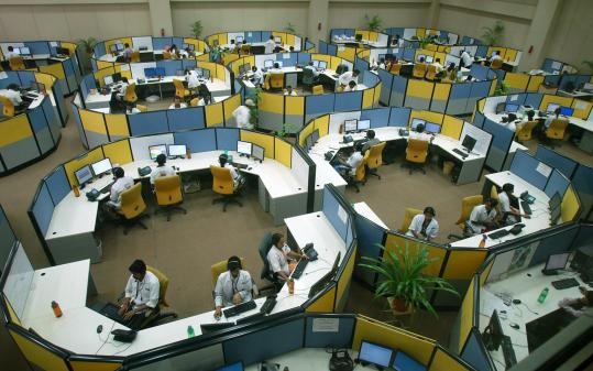 The call center in Andhra Pradesh's capital city, Hyderabad.