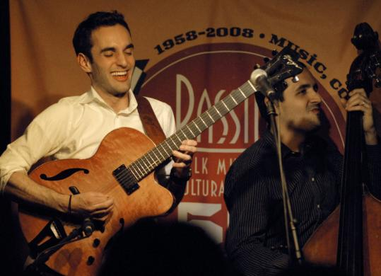 Jazz guitarist Julian Lage's megawatt smile was on display throughout the performance at Club Passim by the Julian Lage Group.