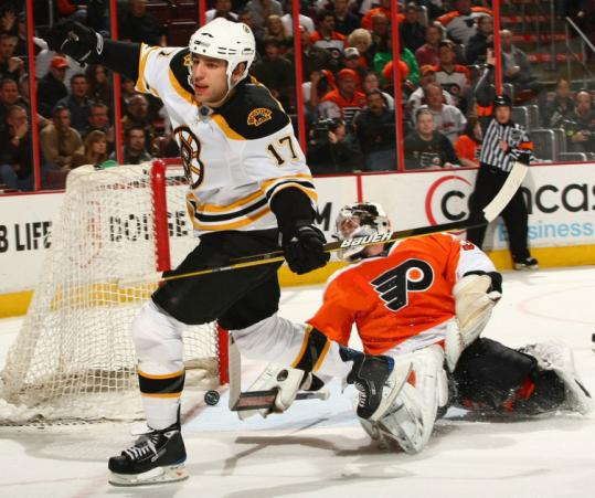 Bruins bruiser Milan Lucic has Flyers goalie Antero Niittymaki down and out as he celebrates one of his two goals.