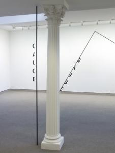 Peter Downsbrough's installation of lines and words at the Barbara Krakow Gallery.