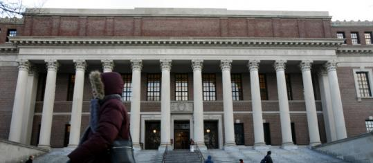 Widener Library on the Harvard campus. Officials said the university saw a 5.6 percent increase in applications.