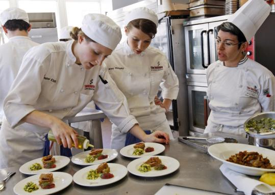 A class at the Institute of Culinary Education in New York. Enrollment has spiked, and revenue is up 15 percent from a year ago.