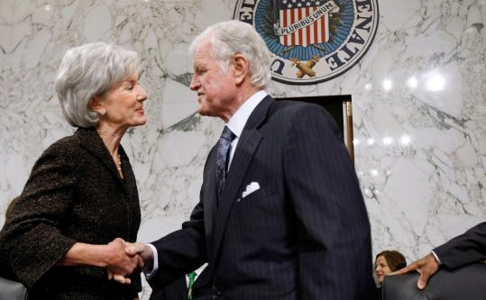 Chip Somodevilla/Getty ImagesUNITED ON HEALTHCARE - Kansas Governor Kathleen Sebelius greeted Senator Edward M. Kennedy yesterday at her confirmation hearing for secretary of health and human services. Kennedy said Sebelius has the ''vision, the skill, and the knowledge'' to shepherd the healthcare overhaul. A10