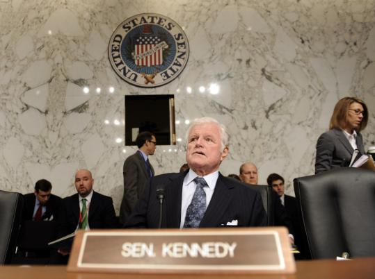 Edward M. Kennedy, chairman of the Senate Health, Education, Labor, and Pensions Committee, spoke at the confirmation hearing for Kansas Governor Kathleen Sebelius.