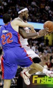 Tayshaun Prince and the Pistons couldn't corral LeBron James (25 points, 12 boards).