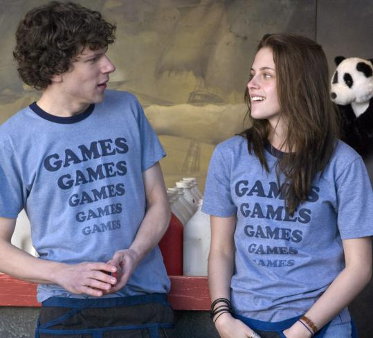 Jesse Eisenberg and Kristen Stewart play amusement park workers in 1987 Pennsylvania.