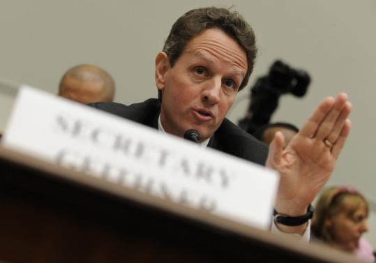 Treasury Secretary Timothy Geithner and other officials would set pay standards at firms that accept bailout money.