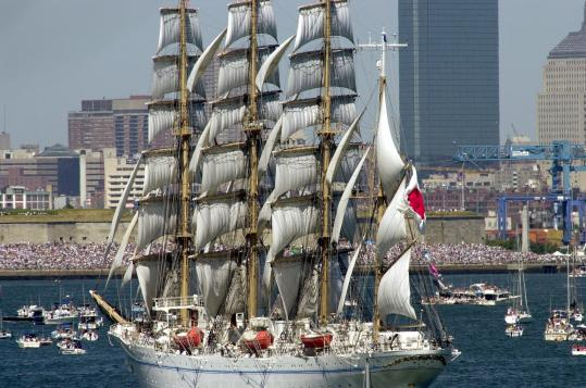 The Japanese training ship Kaiwo Maru, a 110-meter barque, was one of the tall ships that paid a visit to Boston in 2000.