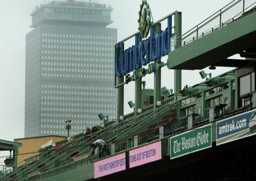 The new Cumberland Farms sign above Conigliaro's Corner in the right field roof box seats.