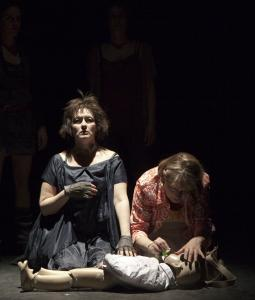 Paula Langton (left, as Hecuba) and Karen MacDonald (as Lotte) star in the ART's production of ''Trojan Barbie.''