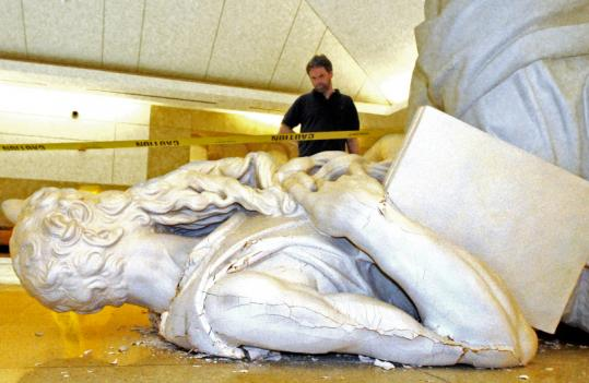 Police charged a Tyngsborough man with toppling a 148-year-old copy of Michelangelo's Moses in a fit of rage over an unpaid parking ticket. The statue had recently undergone $20,000 in renovations.